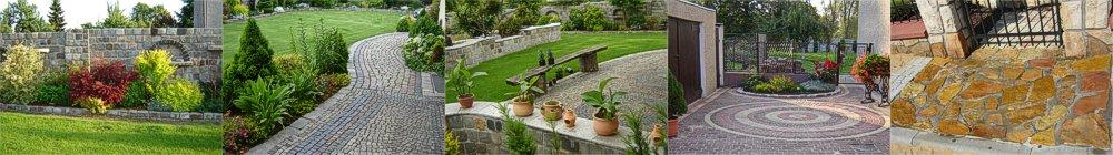 Pięć zdjęć obok siebie - kompozycje wypielęgnowanych ogrodów oraz kostki brukowej
